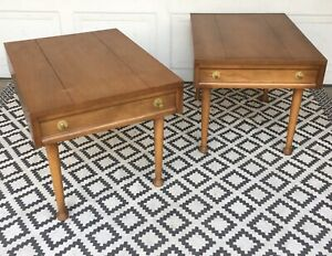 Mcm Vintage America Of Martinsville End Table Pair Mid Century Modern Dove Tails