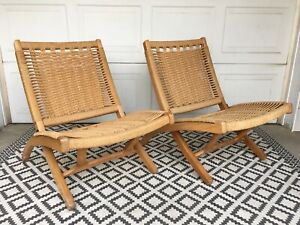 2 Mcm Hans Wegner Style Woven Rope Mid Century Modern Imported Folding Chairs