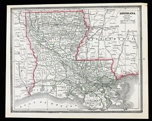 1886 Louisiana Map New Orleans Baton Rouge Mississippi Jackson Rare Original