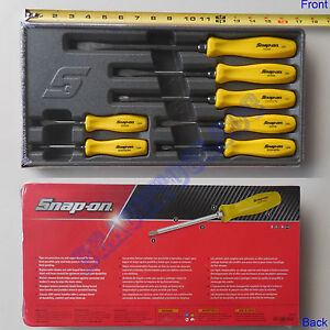 New Snap On Yellow Hard Handle Combination Screwdriver 7 Pcs Sddx70ay Usa