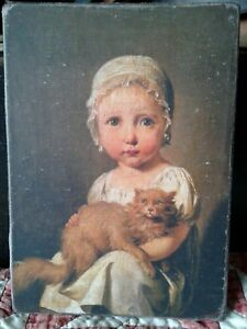 Handmade Primitive Folk Art Girl In Cap With Cat Print On Canvas Board 5x7