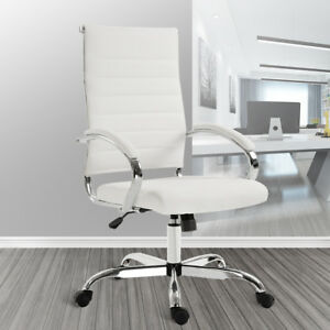 High Back Office Chair Adjustable Swivel Ribbed Conference Seat W Armrest White