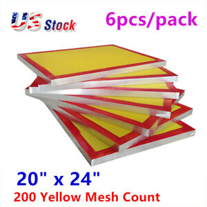 Usa 6pcs 20 X 24 Aluminum Screen Printing Screens With 200 Yellow Mesh Count