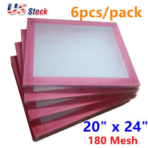 6 Pack 20 X 24 Aluminum Frame Silk Screen Printing Screens 180 White Mesh