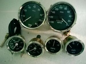 Smiths 52mm kit temp oil fuel amp gauge speedometer Mph tachometer replica