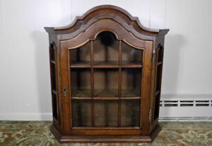 Vintage French Country Oak Vitrine Hanging Wall Curio Cabinet Domed Bonnet Top