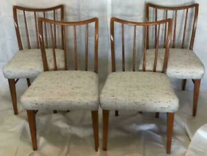 Vintage Mid Century Modern Drop Leaf Table Leaf Four Chairs