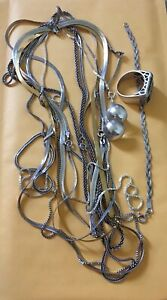 Vtg Sterling Silver Lot Of 8 Chain Link Necklaces Not Scrap 85 69g