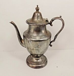 Vintage Academy Silver Plate On Copper Tea Pot Coffee Water Pitcher Restore 5214