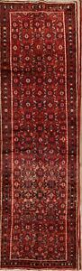 Vintage All Over Hossainabad Persian Hand Knotted 4 X13 Red Wool Runner Rug