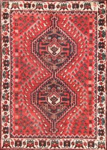 One Of A Kind Geometric Tribal Abadeh Persian Hand Knotted 4x5 Antique Wool Rug