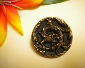 Antique Victorian Metal Fierce Dragon Creature Relief Picture Button