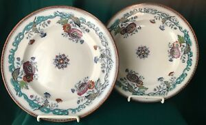 Two 2 Antique Transferware Plates Stafford Blue White W Highlights
