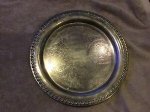 Vintage Leonard Silverplate Tray 12 Inches