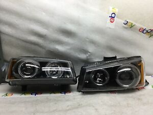 2003 2004 2005 2006 Chevy Silverado Projector Headlight Led Halo Drl Pair H705