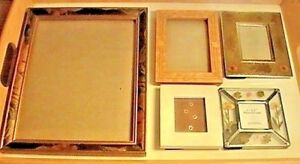 Antique Vintage 5 Picture Frames Lot Inlaid Wood Dried Flowers Enamel Gilded