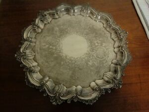 Vintage England Heavy Silverplate Company Antique Footed Butlers Tray Chased