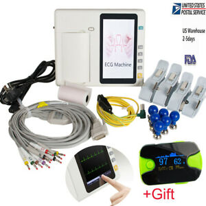 Ce 7 Touch 3 Channel 12 Lead Electrocardiograph Ecg ekg Machine Cardiac Gift