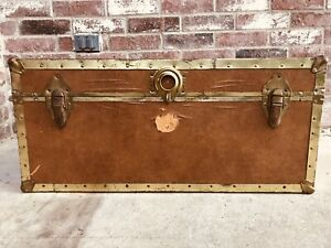 Vintage Antique Steamer Travel Trunk Suitcase Brown Brass W Replacement Lock