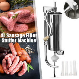 4l Commercial Steel Meat Sausage Stuffer Maker Vertical Machine 4 Tube No Noise