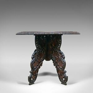 Anglo Indian Antique Campaign Table Carved Teak Side Circa 1900