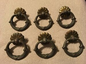 6 Ornate Handles Pulls With Detailed Drop Ring Antique Vintage