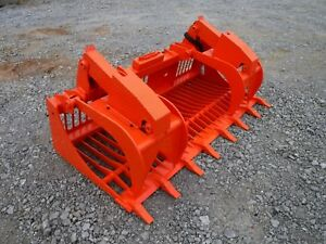 Kubota Skid Steer Attachment 80 Rock Bucket Grapple With Teeth Ship 199