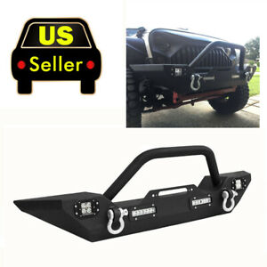 Crawler Front Bumper 4x Cree Led Lgiht Winch Plate Fit 07 18 Jeep Wrangler Jk