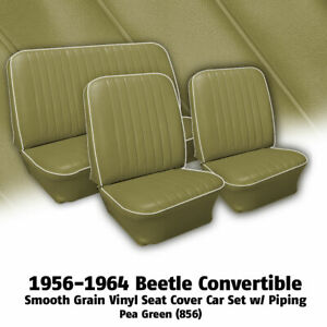 1956 1964 Volkswagen Beetle Convertible Seat Cover Set W off white Piping 345106