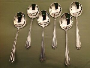 King Albert By Whiting Sterling Silver Set Of Six Round Bowl Soup Gumbo Spoons