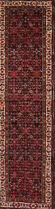 One Of A Kind Traditional Hamedan Persian Hand Knotted 4x14 Wool Navy Runner Rug