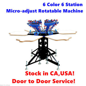 6 Color 6 Station Micro adjust Rotatable Manual Screen Printing Press Machine