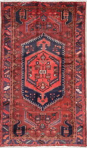 Hand Knotted Persian Hamadan 4x7 Wool Geometric One Of A Kind Oriental Area Rug