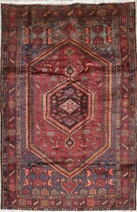 Orientral Hamadan Wool Hand Knotted Geometric One Of A Kind Persian Area Rug 5x7