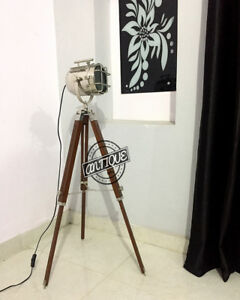 Floor Lamp And Stand Wooden Tripod Electric Plug Home Garden Search Light Decor