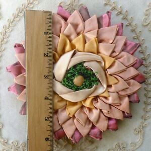 Original Antique French Ribbon Work Rosette