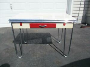1930 S Porcelain Enamel Draw Leaf Kitchen Table Chrome Legs Kitchen Rare