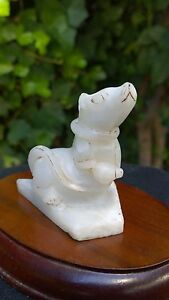 Pure White Hetian Nephrite Jade Good Fortune Wealthy Rat Figurine Statue