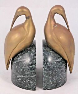 Vintage Marble Bird Bookends Pair Mid Century Solid Art Collectible Home Decor