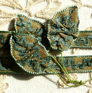 Antique Gold Metal And Chenille Embroidered Ribbon