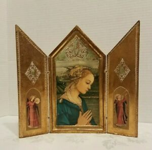 Vtg Italy Florentine Religious Icon Triptych Madonna Mary Wood 8 5 8 Picture