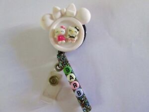 Id Badge Retractable Reel Magnet Or Clip hello Kitty Nurse medical pediatric