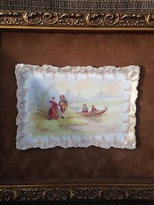 Antique Hand Painted Porcelain Plaque In Wood Frame 12 X14
