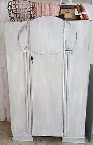 Vintage White Distressed Armoire Wardrobe Made In Great Britain