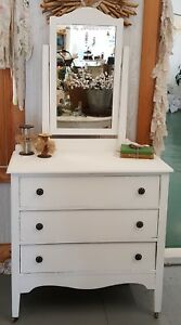 Vintage 3 Drawer Dresser With Mirror Saltwash Distressed White Painted