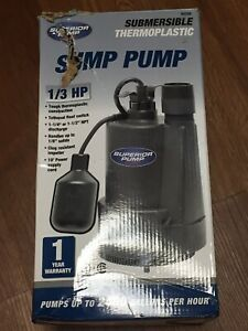 Superior Pump 92330 1 3 Hp Thermoplastic Submersible Utility Pump