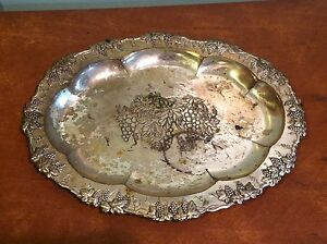 Antique Vintage Negbaur Ny 804 Silver Plated Serving Tray Grape Pattern