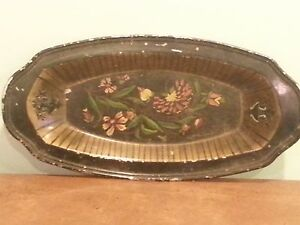 13 Antique Vintage Decorative Black And Gold Metal Tole Tray Dish W Cutouts
