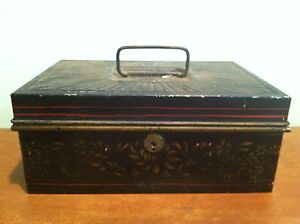 Antique Vintage Tole Painted Metal Cash Trinket Lock Box Safe