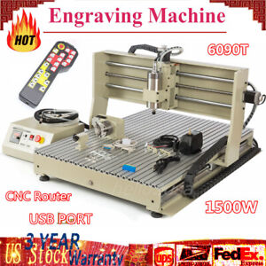 Engraver Engraving Machine 6090 Router 3d Cutter Drill 1500w Rc 4axis Usb L w h